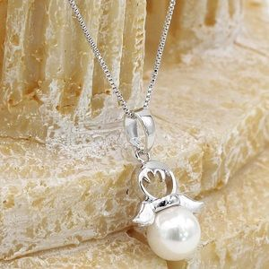 Ocean Fashion Jewelry - Silver lovely pearl angel necklace